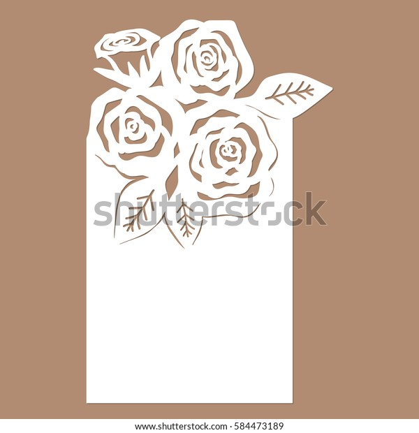List Letters Rose Template Cutting Laser Stock Vector