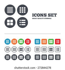 List menu icons. Content view options symbols. Thumbnails grid or Gallery view. Web buttons set. Circles and squares templates. Vector