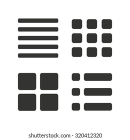 List menu icons. Content view options symbols. Thumbnails grid or Gallery view. Flat icons on white. Vector