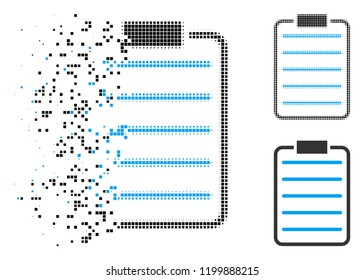 List page icon in disappearing, dotted halftone and undamaged entire versions. Elements are arranged into vector disappearing list page figure. Disappearing effect involves rectangle particles.