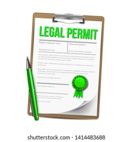 List Of Paper With Legal Permit Clipboard Vector. Colorful Design Template Approved Permit Certificate Document With Approved Stamp On Tablet And Pen. Authorization Realistic 3d Illustration