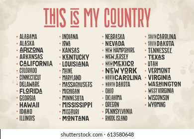 List of states of United States of America with state names. Colorful print for t-shirt, poster or geographic themes. Hand-drawn red, blue and white colors with states. Vector Illustration