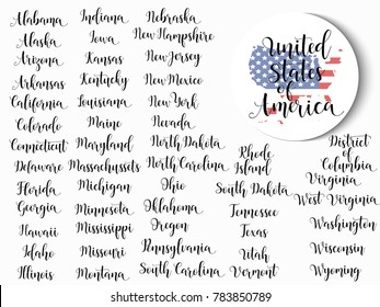 List of states of United States of America with state names. Lettering. Hand drawn vector illustration.  element for flyers, banner, postcards and posters. Modern calligraphy.