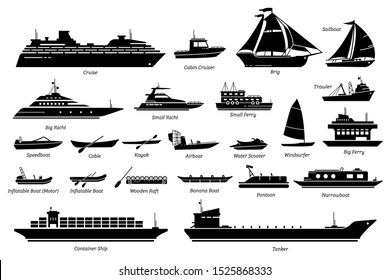 List of water transportation, ships, and boats icon set. Artwork of cruise, brig, sailboat, yacht ferry, trawler, inflatable, speedboat, water scooter, windsurfer, pontoon, container ship, and tanker.