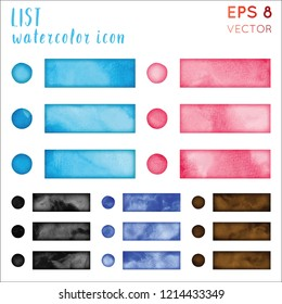 List watercolor icon set. Artistic hand drawn style symbol. Uncommon painting. Modern design for infographics or presentation.