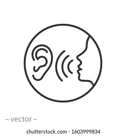 listen carefully to the speaker icon, social communication, human attentively talk, whisper on ear, thin line web symbol on white background - editable stroke vector illustration eps10