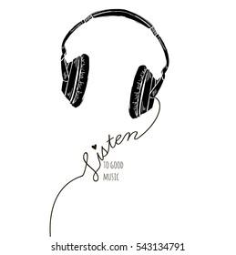 listen to good music, monochrome silkscreen print with headphones silhouette