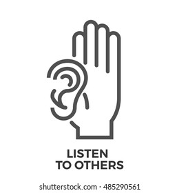 Listen to Others Thin Line Vector Icon Isolated on the White Background.