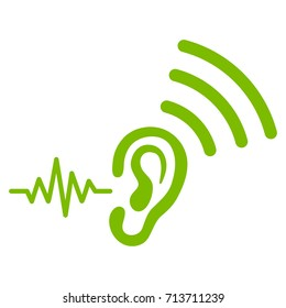 Listen And Transmit vector icon. Flat eco green symbol. Pictogram is isolated on a white background. Designed for web and software interfaces.