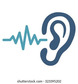 Listen vector icon. Style is bicolor flat symbol, cyan and blue colors, rounded angles, white background.