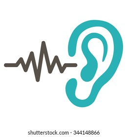 Listen vector icon. Style is bicolor flat symbol, grey and cyan colors, rounded angles, white background.