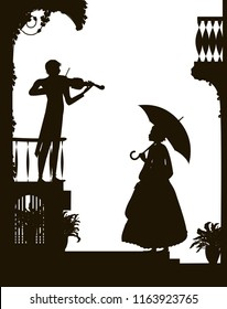 listen the violin melody, romantic scene in the city, old fashioned girl holding the umbrella and listen the violinist, romantic music, shadow, vector