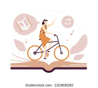 Listening to audiobooks - flat design style illustration on white background. Quality brown composition with a young woman in headset cycling and enjoying literature, images of books and notes
