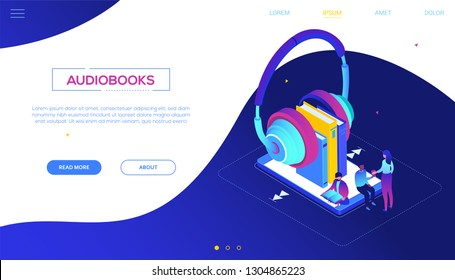 Listening to audiobooks - modern colorful isometric vector web banner with copy space for text. Composition with male, female characters, big earphones with books on smartphone screen, online service