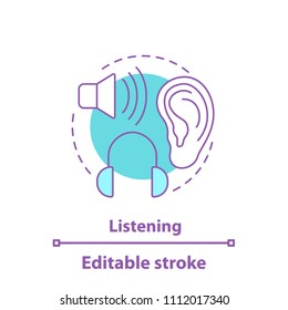 Listening concept icon. Auditory perception idea thin line illustration. Hearing. Listening to music. Vector isolated outline drawing. Editable stroke