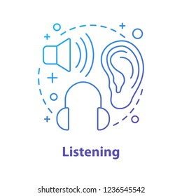 Listening concept icon. Auditory perception idea thin line illustration. Hearing. Listening to music. Vector isolated outline drawing