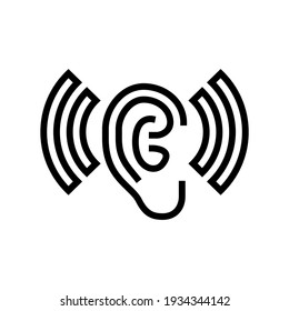 listening and hearing noise line icon vector. listening and hearing noise sign. isolated contour symbol black illustration