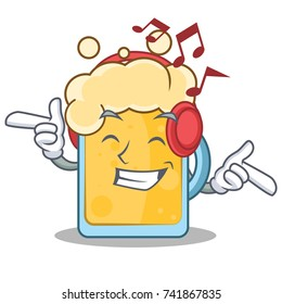 Listening music beer character cartoon style