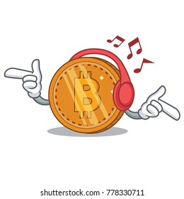 Listening music bitcoin coin character cartoon