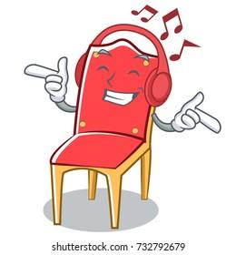 Listening music chair character cartoon vector art illustration