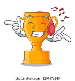 Listening music champion golden trophy on cartoon table