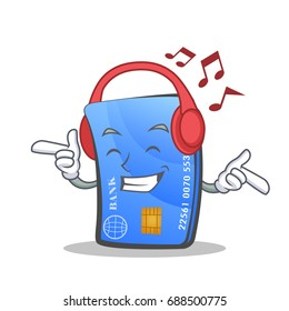 Listening music credit card character cartoon