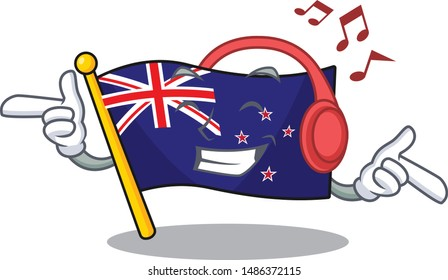 Listening music flag new zealand with cartoon shape