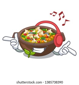 Listening music fried minestrone in the cup character