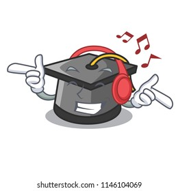 Listening music graduation hat mascot cartoon