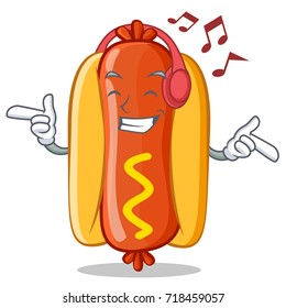 Listening Music Hot Dog Cartoon Character