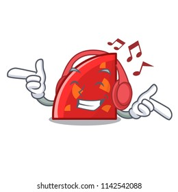 Listening music quadrant mascot cartoon style
