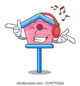 Listening music wooden bird house on a pole cartoon