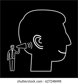 Listening. Vector illustration of businessman speaking to ear   modern flat design linear concept icon and infographic white on black background