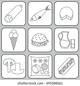 Listeria contaminated food icon set in black outline. Stock vector illustration of products that may cause listeriosis. Medicine and biology collection