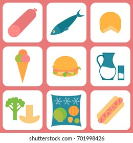Listeria contaminated food icon set. Stock vector illustration of products that may cause listeriosis. Medicine and biology collection. Flat style