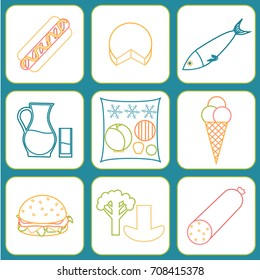 Listeria contaminated food icon set. Stock vector illustration of products that may cause listeriosis. Medicine and biology collection