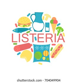 Listeria contaminated food icons. Stock vector illustration of products that may cause listeriosis. Medicine and biology collection. Flat style
