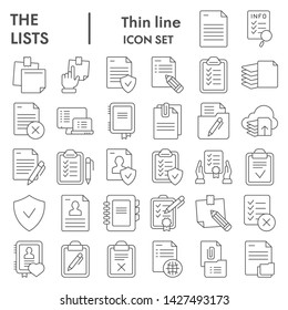 Lists thin line icon set, documents symbols collection, vector sketches, logo illustrations, paper signs linear pictograms package isolated on white background, eps 10