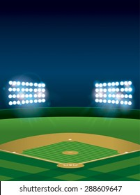 A lit baseball or softball field stadium at night. Vector EPS 10 available. EPS file contains transparencies and gradient mesh. Room for copy.