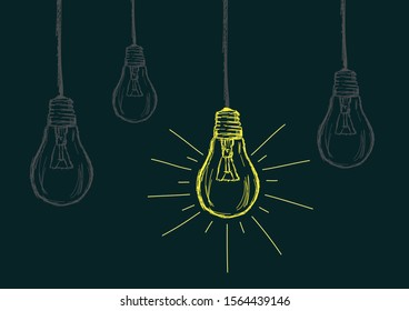 Lit Bulb amongst Switched off Bulbs Vector Illustration