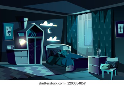 Lit by moonlight children room with little boy sleeping in cosy bed with nightlight lamp on cartoon vector illustration. Children bedroom at moonlit night. Child sweet dreams and healthy sleep concept
