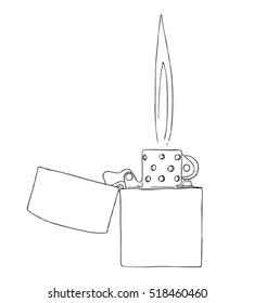 Lit Lighter Drawing - Vector