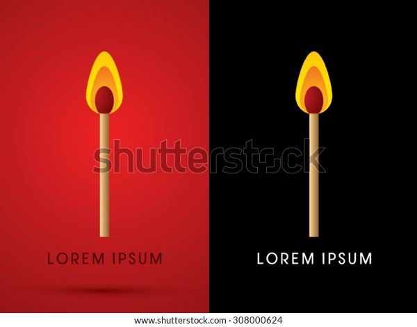 Lit match ,graphic vector