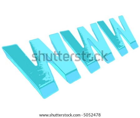 Lite Blue Letters WWW Isolated On Stock Vector Royalty Free