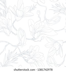 Lite flawer background. Soft seamless vector pattern with magnolia.
