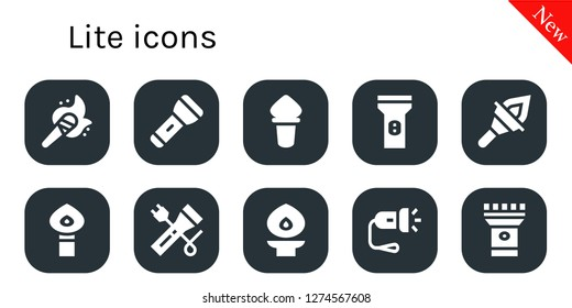 lite icon set. 10 filled lite icons. Simple modern icons about  - Torch, Flashlight