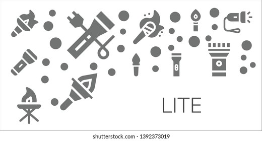 lite icon set. 11 filled lite icons.  Simple modern icons about  - Torch, Flashlight
