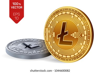 Litecoin. 3D isometric Physical coins. Digital currency. Cryptocurrency. Golden and Silver coins with Litecoin symbol isolated on white background. Vector illustration.