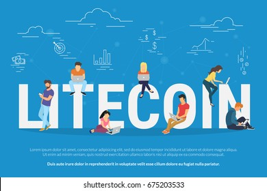 Litecoin concept vector illustration of young people using laptop and smartphone for online funding and making investments for litecoin and blockchain technology. Flat design of new crypto currency