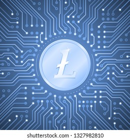 Litecoin Crypto-Currency. Metallic coin with the Litecoin symbol on it in center of pattern in form of electronic circuit board. Graphic illustration on the subject of `Digital Crypto-Currencies`.